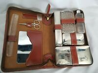 Vintage gentlemen Traveler Leather Zip Men's Grooming Vanity Kit lucite tools