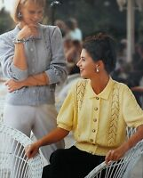 """Vintage Knitting Pattern Lady Lacy Cardigan With Collar 28-40"""" 71-102cm DK S9063"""