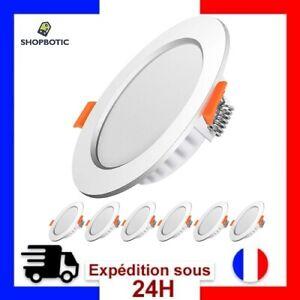 6 Spot led encastrable,Extra plat,5W 500lumen equivalent 50W (Blanc Froid 6000k)