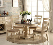 NEW 5PC ANTIQUE WHITE WASH CHERRY FINISH WOOD ROUND PEDESTAL DINING TABLE SET