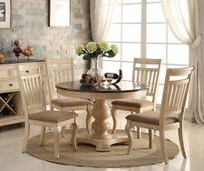 NEW 5PC ANTIQUE WHITE WASH CHERRY FINISH WOOD ROUND PEDESTAL DINING TABLE SET