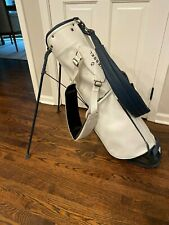 Stitch SL1 Golf Bag Leather - White with blue straps and extra Vessel Strap