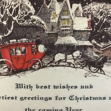 Vintage Art Deco Victorian Christmas Greeting Card Stagecoach Snowy Scene Winter