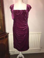 Lk Bennett Pink Velvet Square Neck Fitted Knee Length Dress Uk 18