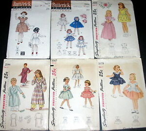 6 Lot Assorted Vintage Girl Child Butterick Simplicity Sewing Patterns New