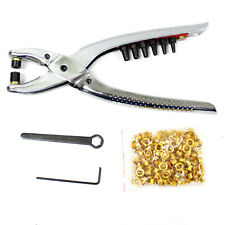 2 in 1 Leather Hole Punch Plier Hand Belt Hole Puncher w/100PC Grommets Tool Kit