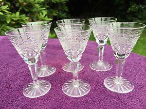 WATERFORD CRYSTAL CUT GLASS  LIQUER SHOT GLASS x 6 glasses 9.5 cm high