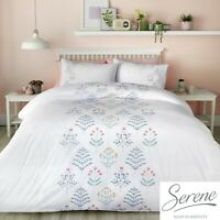 Serene FLORA Green Embroidered Duvet Cover Set