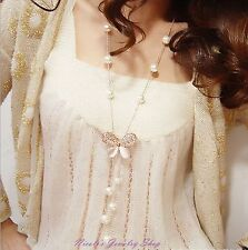 Fashion style faux pearl long necklace sweater chain with gold plated butterfly