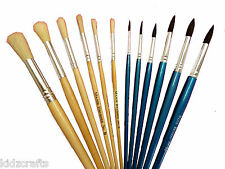 Paint Brushes Assorted Sizes Pack of 12 Wooden Handles Hog/Squirrel Kids Brushes