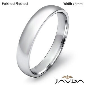 4mm Classic Wedding Ring Platinum Dome Shape Light Comfort Men's Band 7g 12-12.5