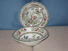 RIDGWAY STAFFORSHIRE INDIAN TREE 2 RIM CEREAL BOWLS  ENGLAND  2 PIECES