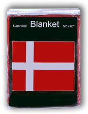 Denmark Flag Fleece Blanket *NEW* 5 ft x 4.2 Travel Throw Cover Danish Dannebrog