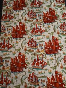 Vintage mid-century sewing home dec fabric sailing ships schooners 2 1/8 yds