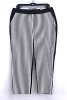 NEW black white stripe CHICOS trouser skimmer pants ultimate fit ankle L 12 2