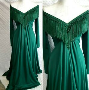 True Vintage 1970s Maxi Fringe Dress Green Small Gown Long Sleeve Union Made