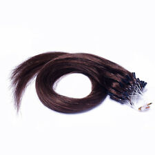"""New 26"""" Remy Real Human Hair Extensions Straight Micro Loop Tipped 100g Brown #6"""
