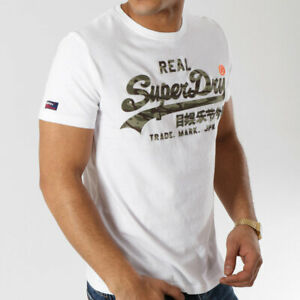 Superdry Mens White Vintage Logo Camouflage Infill Tee Crew Neck T-Shirt Top