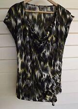 Katies Women's Black Green Off-White & Grey Short-Sleeve Top - Size M