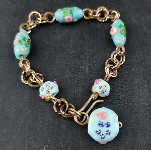 Vintage Blue Glass Wedding Cake Bead Bracelet Brass Chain