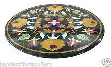 2' Black Marble Coffee Table Top Semi Precious Inlay Marquetry Floral Decor Gift
