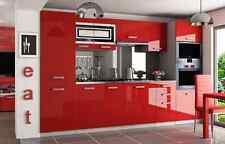 Küche Küchenzeile schwarz, rot, weiß Hochglanz 300cm Küchenblock Einbauküche