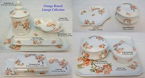 "French Limoge ""Orange Branch"" Dresser Tray, Apothecary, Trinket Box, Jewelry Box"