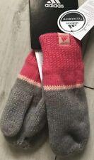 🔶 Adidas Stripe Girls Mittens Gloves Grey Pink Size XS (3-10 Years) Bnwt 🔶