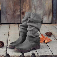 Womens Oxford Lady Mid Calf  Boots Buckle Sweater Knit Ladies Chic New Shoes dy