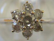 Diamond 7 Stone Ring - Uk Size N No Reserve Fine Vintage 9Ct 9Kt 375 White Gold
