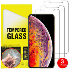 For iPhone 11 Pro X XR XS Max 8 7 6 Plus SE HD Tempered Glass Screen Protecto x3
