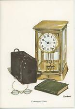 VINTAGE OLD CAMERA & CASE MANTLE GLASS CLOCK SPECTACLES NOTE CARD ART PRINT