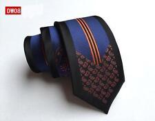 Negro, naranja y azul motivo Cachemira Estampado Hecho a mano 100% SEDA Skinny