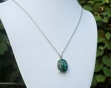 Australian Chrysocolla Platinum Over Sterling Silver Pendant With Chain