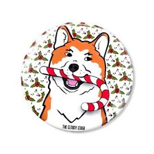 Akita Dog Candy Cane Christmas Pinback Button Holiday Pin Accessories