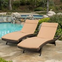 Albany Outdoor Caramel Water-Resistant Fabric Chaise Lounge Cushions (Set of 2)