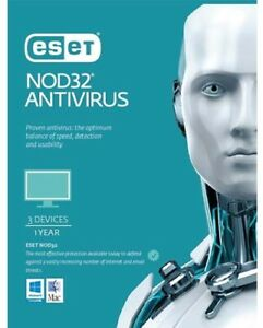 ESET NOD32 Antivirus (Essential Protection), 3 Devices 1 Year PC ESD only OEM