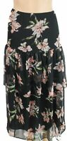 Lauren by Ralph Lauren Womens Black Size Small S Peasant Tiered Skirt $135 429