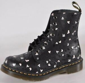 NEW Dr. Doc Martens 1460 Pascal Leather Wild Heart Printed Lace Up Boots 9 U.S.