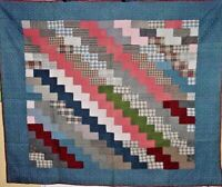 FABULOUS CRISP CLEAN  ANTIQUE  ZIG ZAG / BRICK ROAD QUILT HAND QUILTED