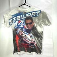 Tony Stewart 14 Impala NASCAR Mens Graphic T-Shirt White Black Crew Neck Tee XL