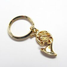 FRENCH HORN Key Chain - 24K Gold Plate Low Brass NWT - Musical Instrument Gifts