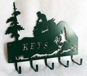 ATV Key Holder 5 Hooks Wall Hanger Rack OHV Quad Mountain Trees Plasma Metal Art