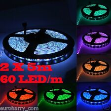 2x 60 LEDs/m SMD Strip 5m RGB LED Band Dimmbar 44 Key Controller+Trafo+Netzteil