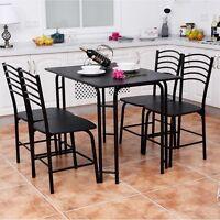 5 pcs Modern Dining Steel Frame Home Kitchen Furniture Dinner Seats Desk Set US