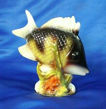"CERAMIC TROPICAL FISH, Black & Green with White Fins 5"" or 12.7cm high, New Mint"