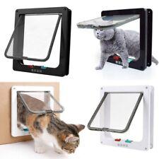 Us 4 Way Pet Cat Small Dog Lock Lockable Safe Flap Door Gate Frame S/M/L/Xl Size