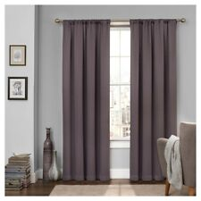 """Eclipse Tricia Thermalpanel Solid Grey Rod-Pocket Curtain Panel, 52""""x63"""""""