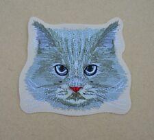 patch, chat , téte de chat gris ; 11cm , brodé et thermocollant