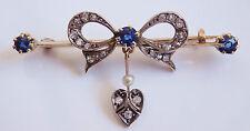 Antique Victorian Gold Sapphire & Diamond Bow & Heart Motif Brooch c1885